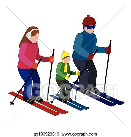 Vector art isometric isolated. Skiing clipart activity