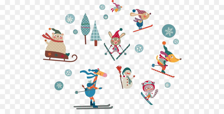 skiing clipart animal