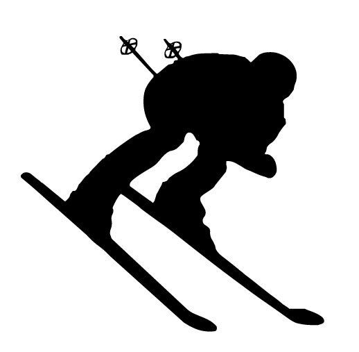 Downhill snow skier vinyl. Skiing clipart board