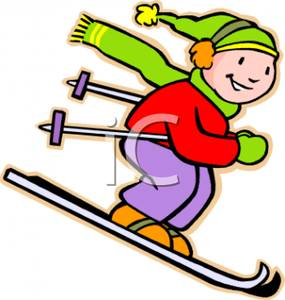 A colorful cartoon of. Skiing clipart child