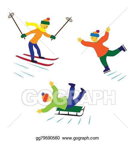 Skis clipart ice. Stock illustration children with
