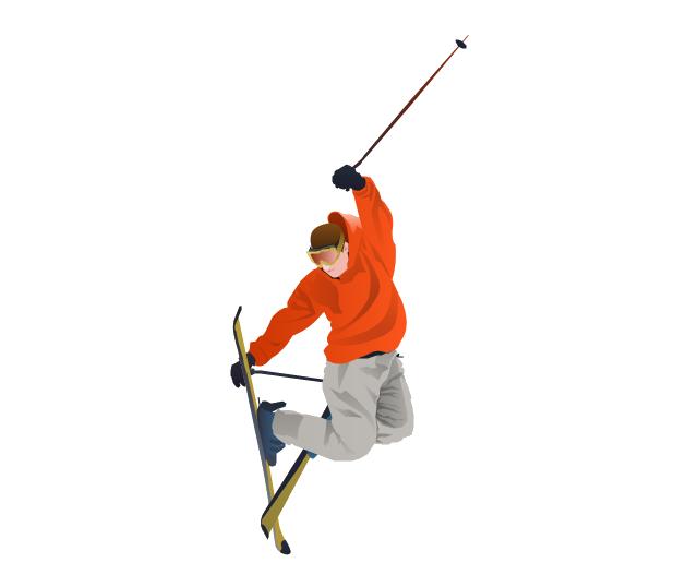 Skiing transparent background