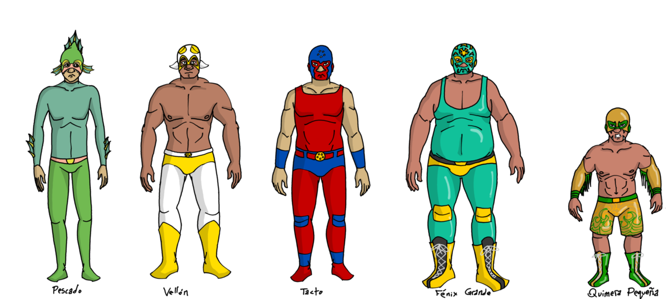 Wrestlers clipart luchadores. Body types by harrisongrey
