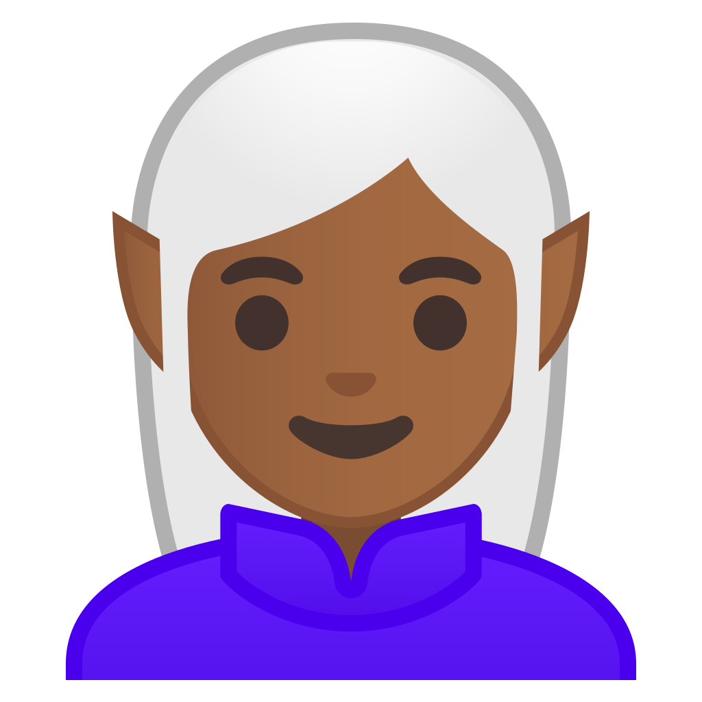 Woman elf medium dark. Skin clipart brown skin