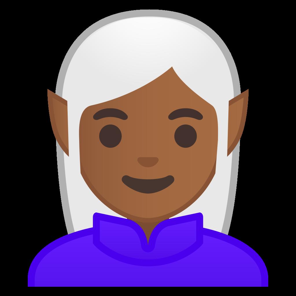 Woman elf medium dark skin tone Icon