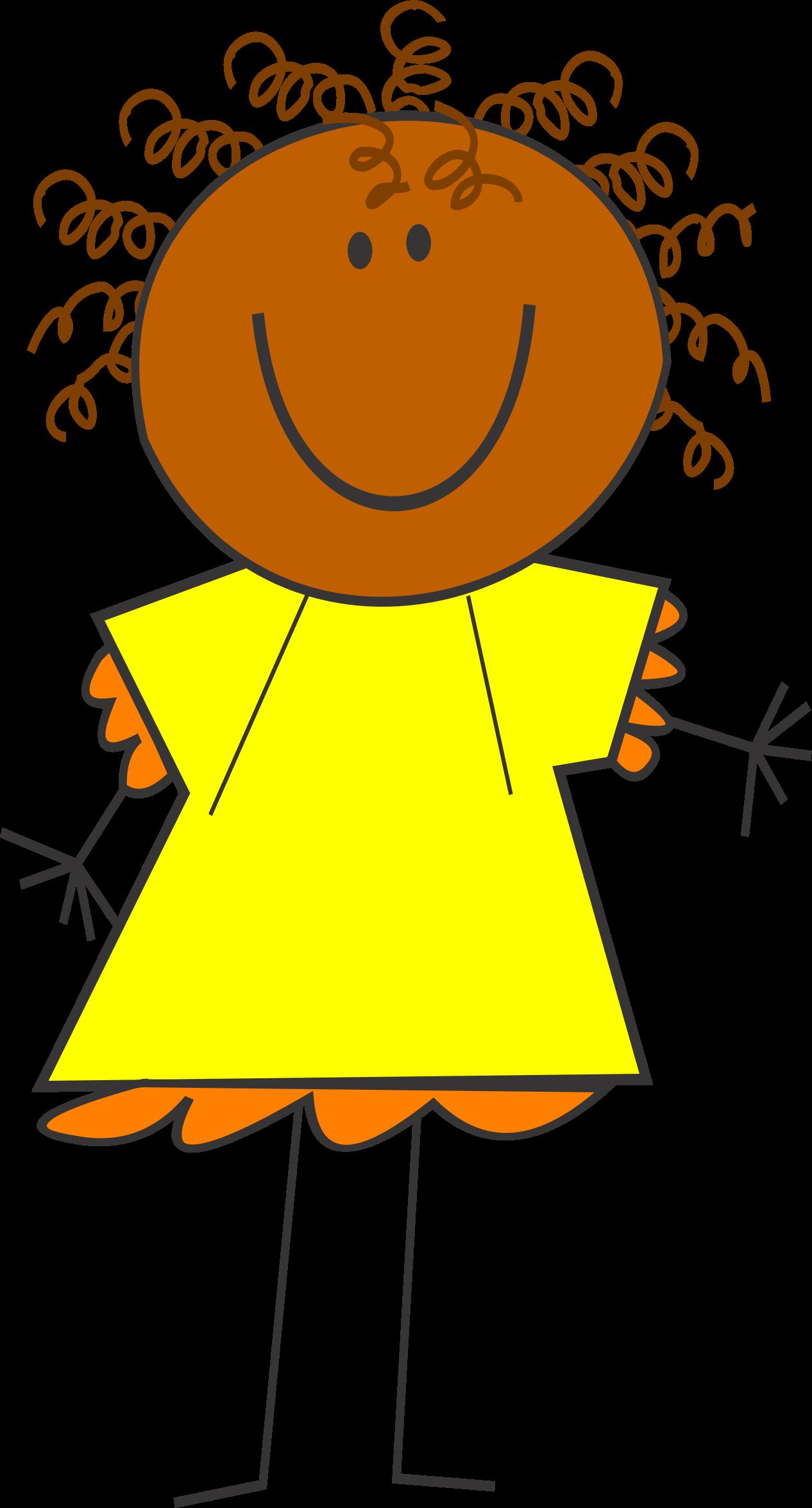 Skin clipart cartoon. Funny girl dark big