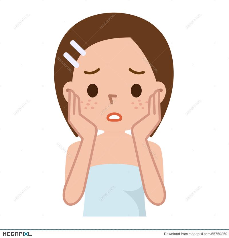 Woman with spotty deep. Skin clipart pore