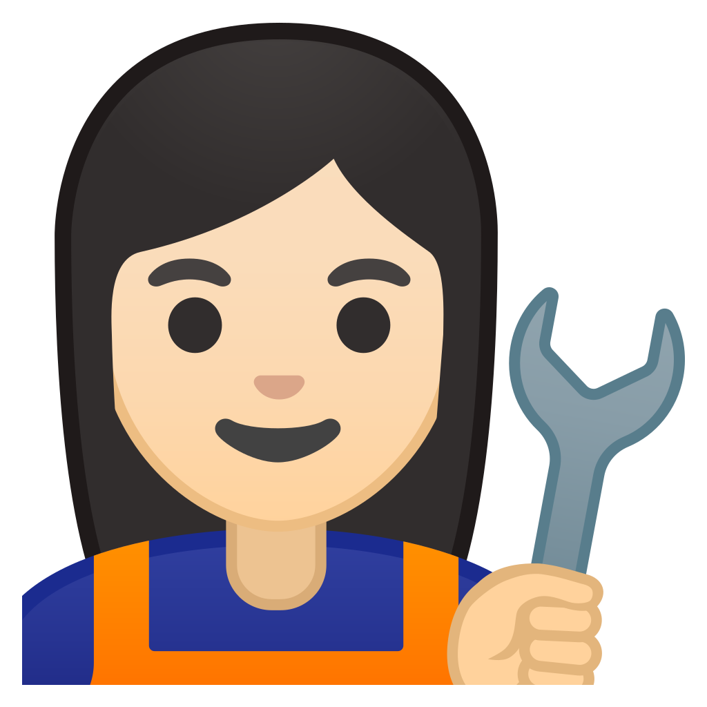 Skin clipart skin tone. Woman mechanic light icon