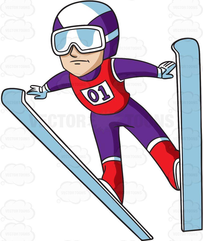 Skis clipart ski jump. A male jumper cartoon