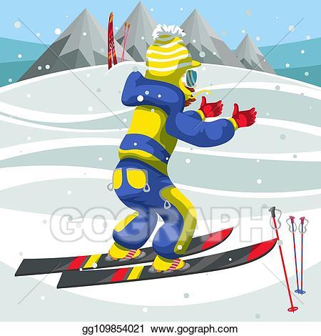 Skis clipart skiing holiday. Vector art cartoon boy