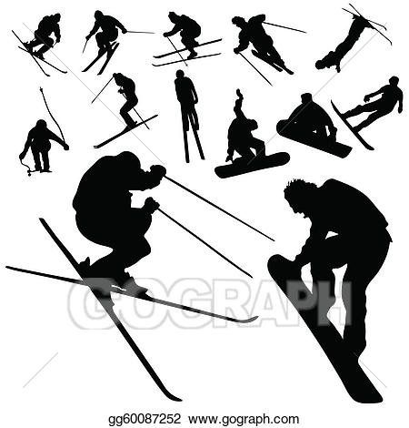 Skis clipart snowboarding. Vector art ski and