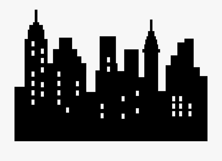 Skyline clipart. City skyscraper simple silhouette