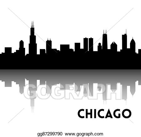 Skyline clipart chicago downtown. Vector illustration silhouette eps