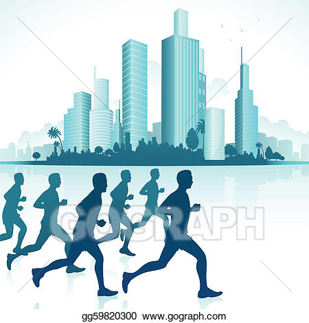 Vector stock runners in. Skyline clipart urban person