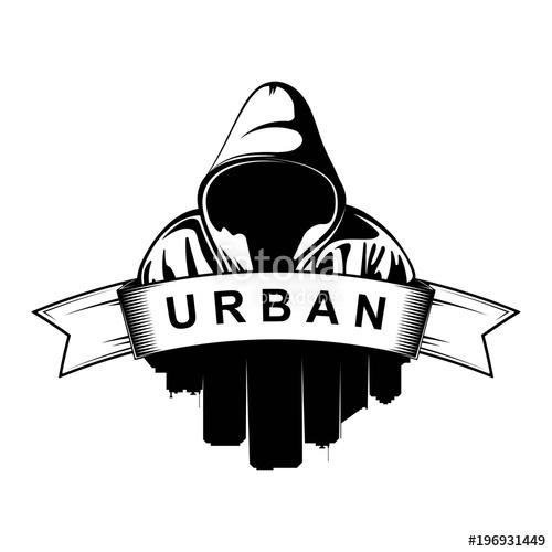 Logo design hooded man. Skyline clipart urban person