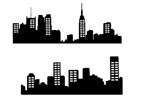 Skyline clipart urban person. Free city silhouette vector