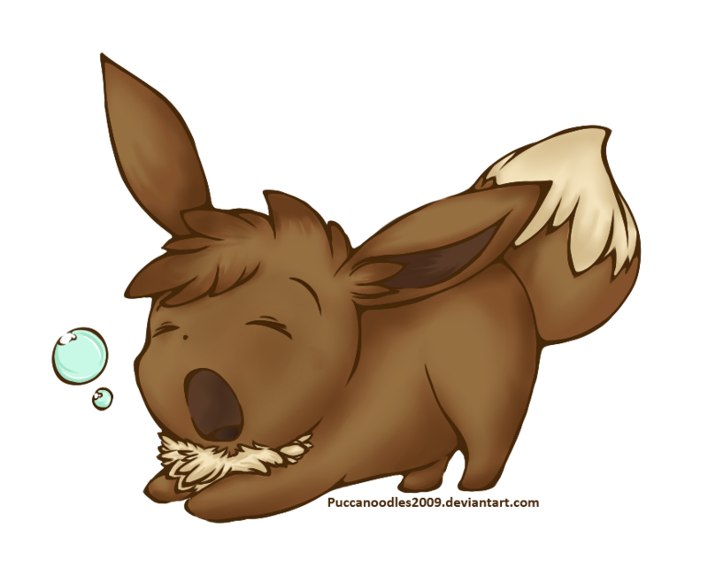 Sleeping clipart yawning. Eevee chibi by puccanoodles