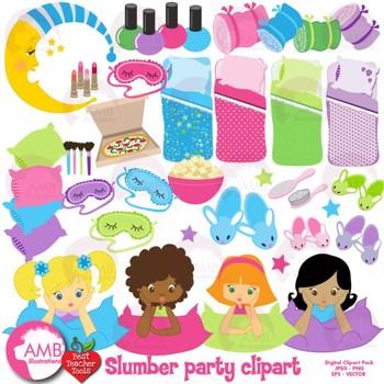 Slumber party girls clip. Sleepover clipart