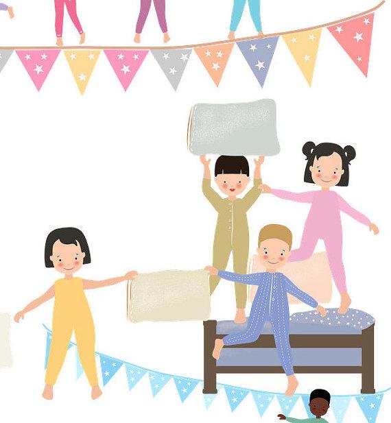 Kids pyjama pillow fight. Sleepover clipart