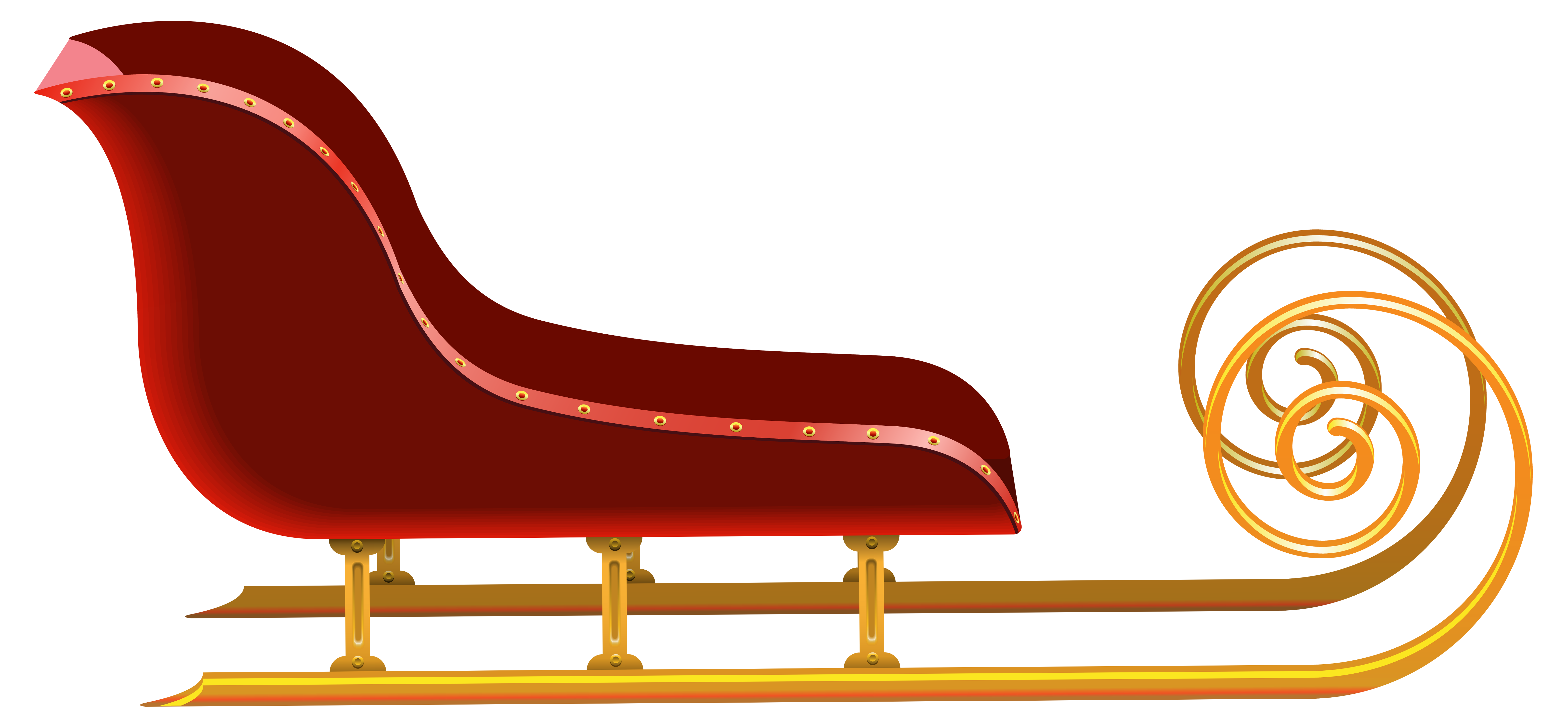 Sleigh clipart. Red png clip art