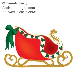 Sleigh clipart. Clip art illustration of