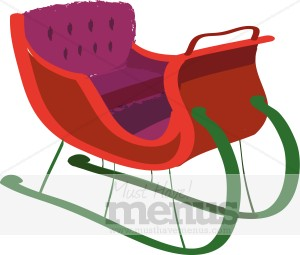 Red holiday archive. Sleigh clipart