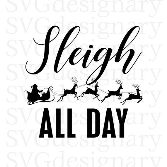 Christmas black white svg. Sleigh clipart all day