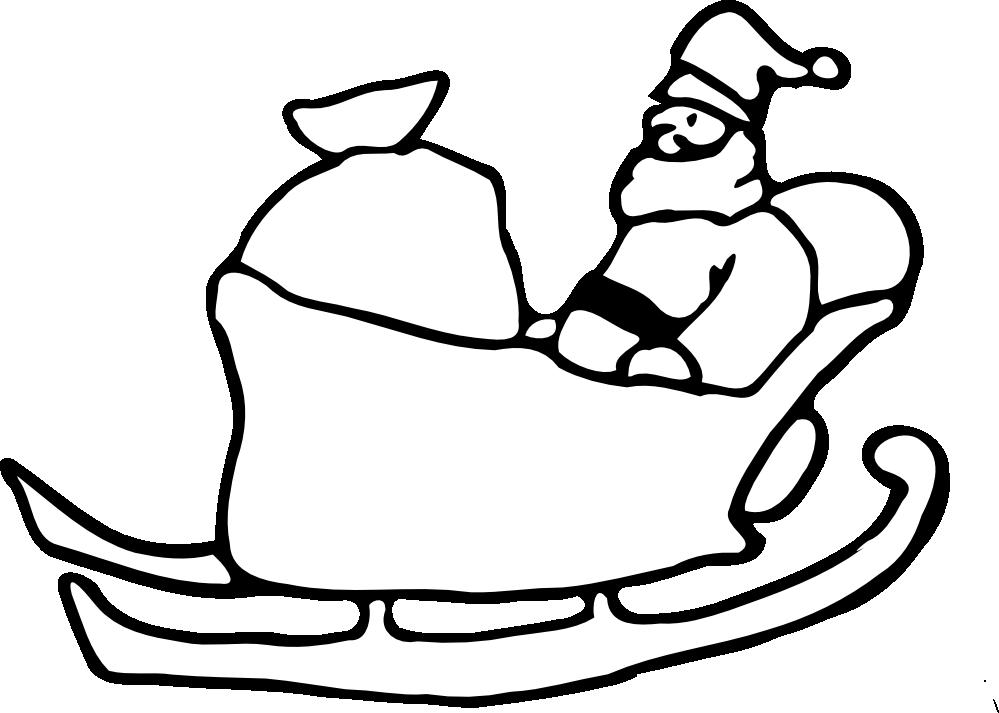 Sleigh clipart black and white. Santa silhouette clip art