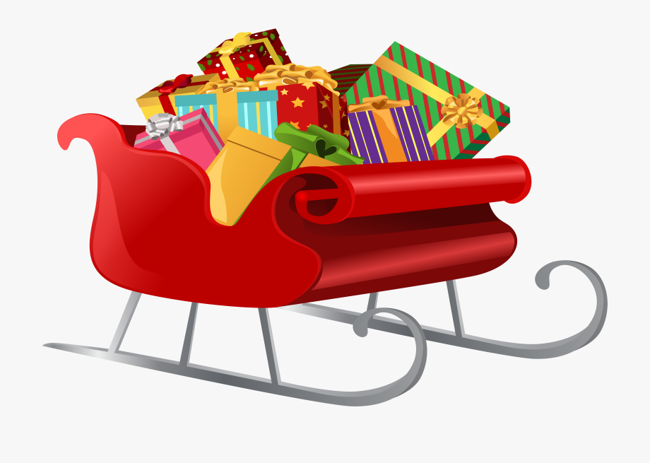 Sleigh clipart clip art. Santa with gifts png