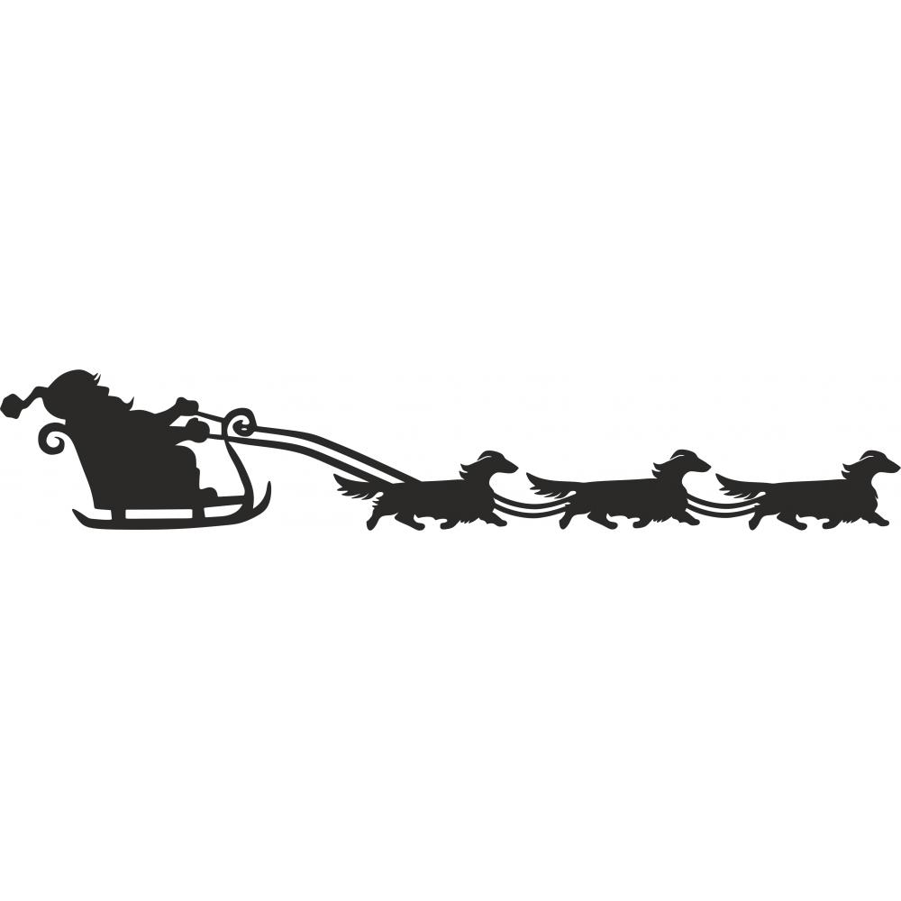 Sleigh clipart dog. Dachshund long haired santa