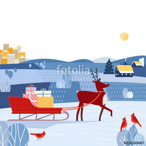 Seasonal poster cartoon cute. Sleigh clipart fancy