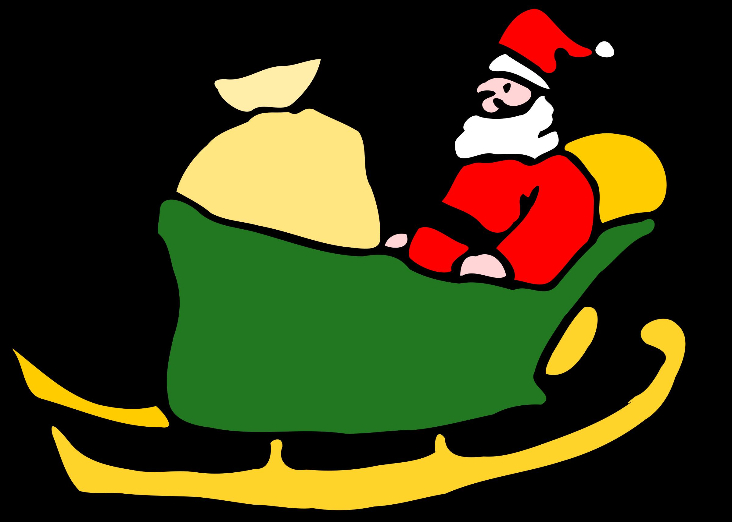 Sleigh clipart green. Santa in his big