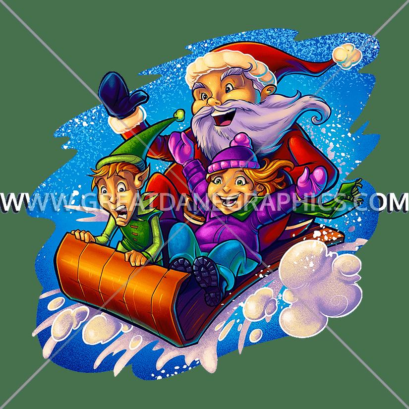 Sleigh clipart green. Santa production ready artwork