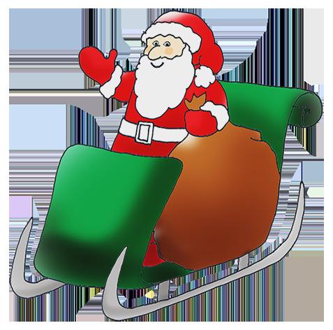 Santa x free clip. Sleigh clipart green