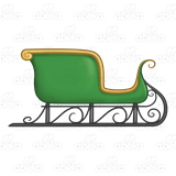 Sleigh clipart green. With gold trim