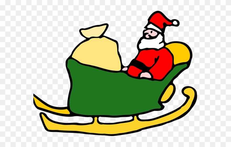Sleigh clipart green. Santa black and