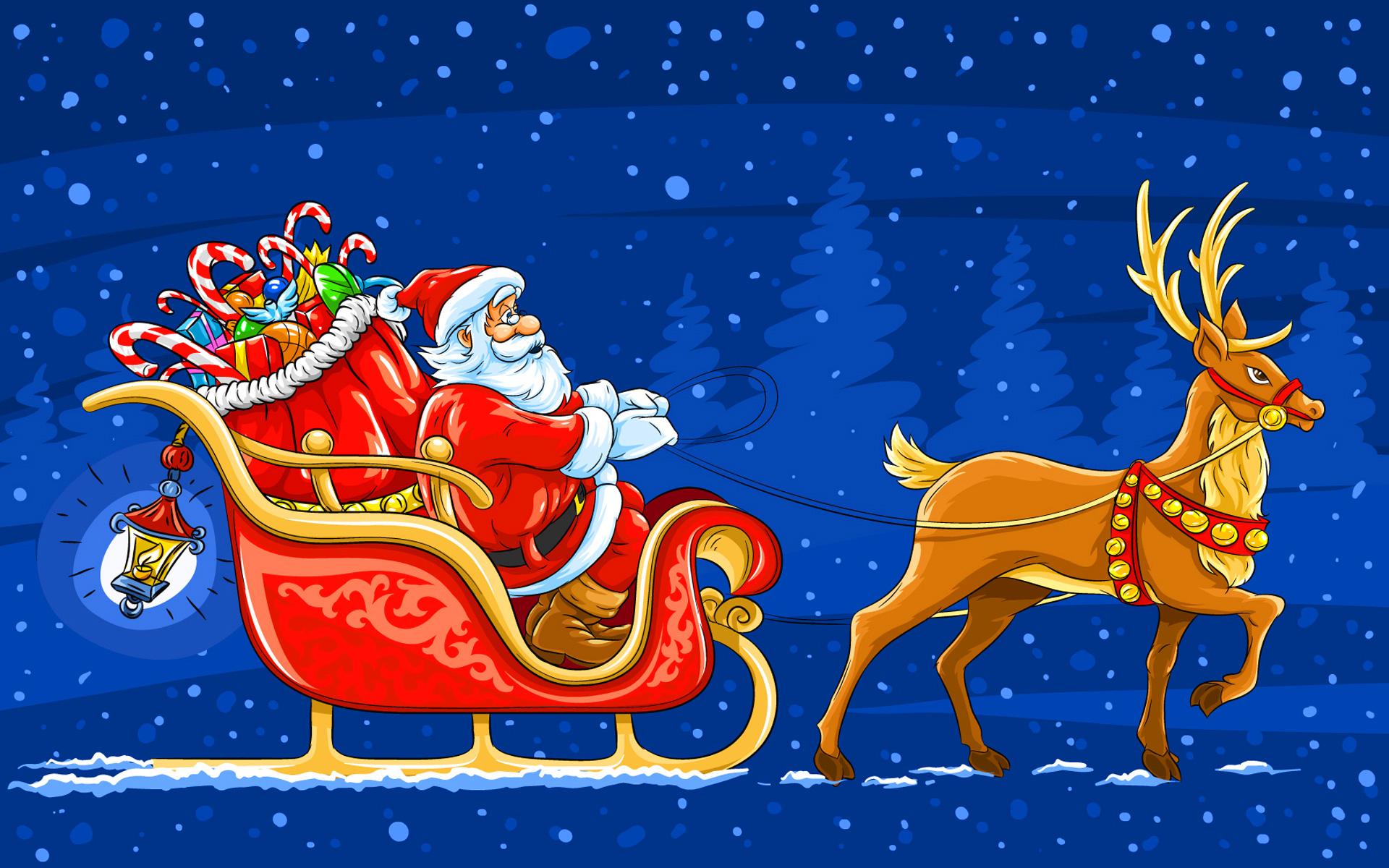Sleigh clipart jpeg. Santa with blue background