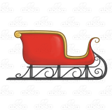 With gold trim . Sleigh clipart red sleigh