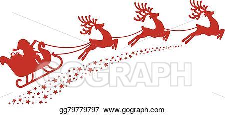 Sleigh clipart red sleigh. Vector stock santa reindeer
