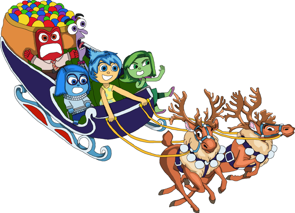 Sleigh clipart riding. Inside out emotions in