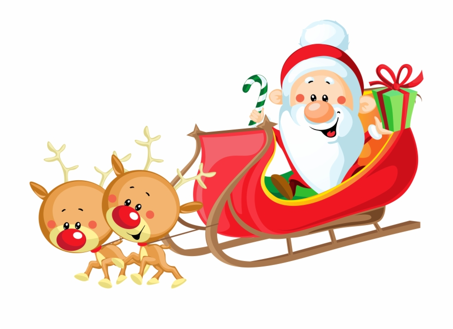 Claus reindeer cute with. Sleigh clipart santa s