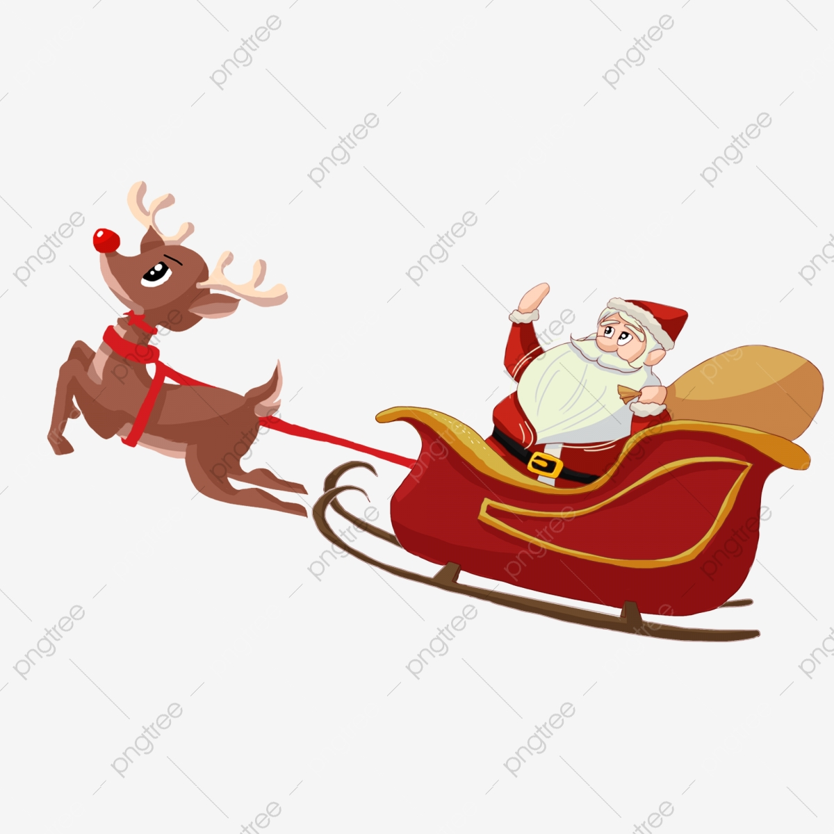 Deer pulling santas fawn. Sleigh clipart simple