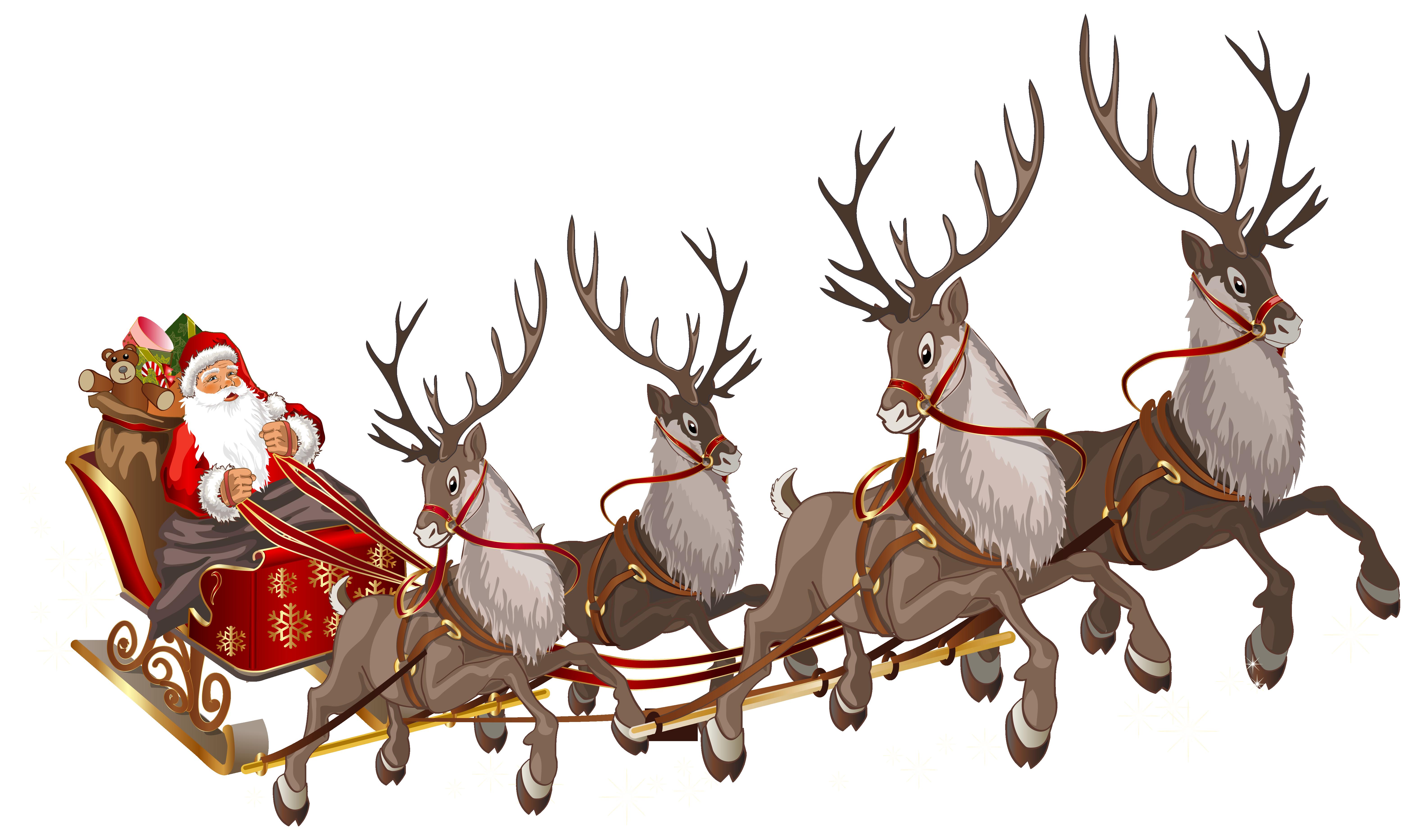 Santa claus s reindeer. Sleigh clipart sled
