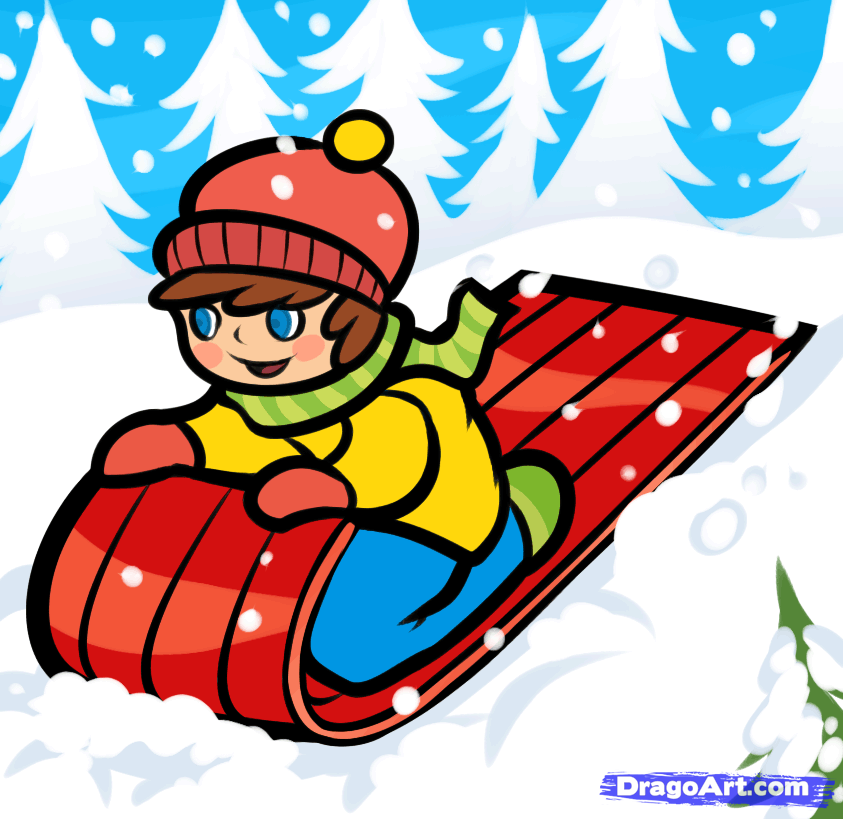 Sleigh clipart snow sled. How to draw a