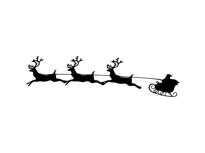 Christmas reindeer santa silhouette. Sleigh clipart svg