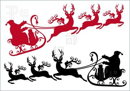 Sleigh clipart vector. Reindeer santa with and