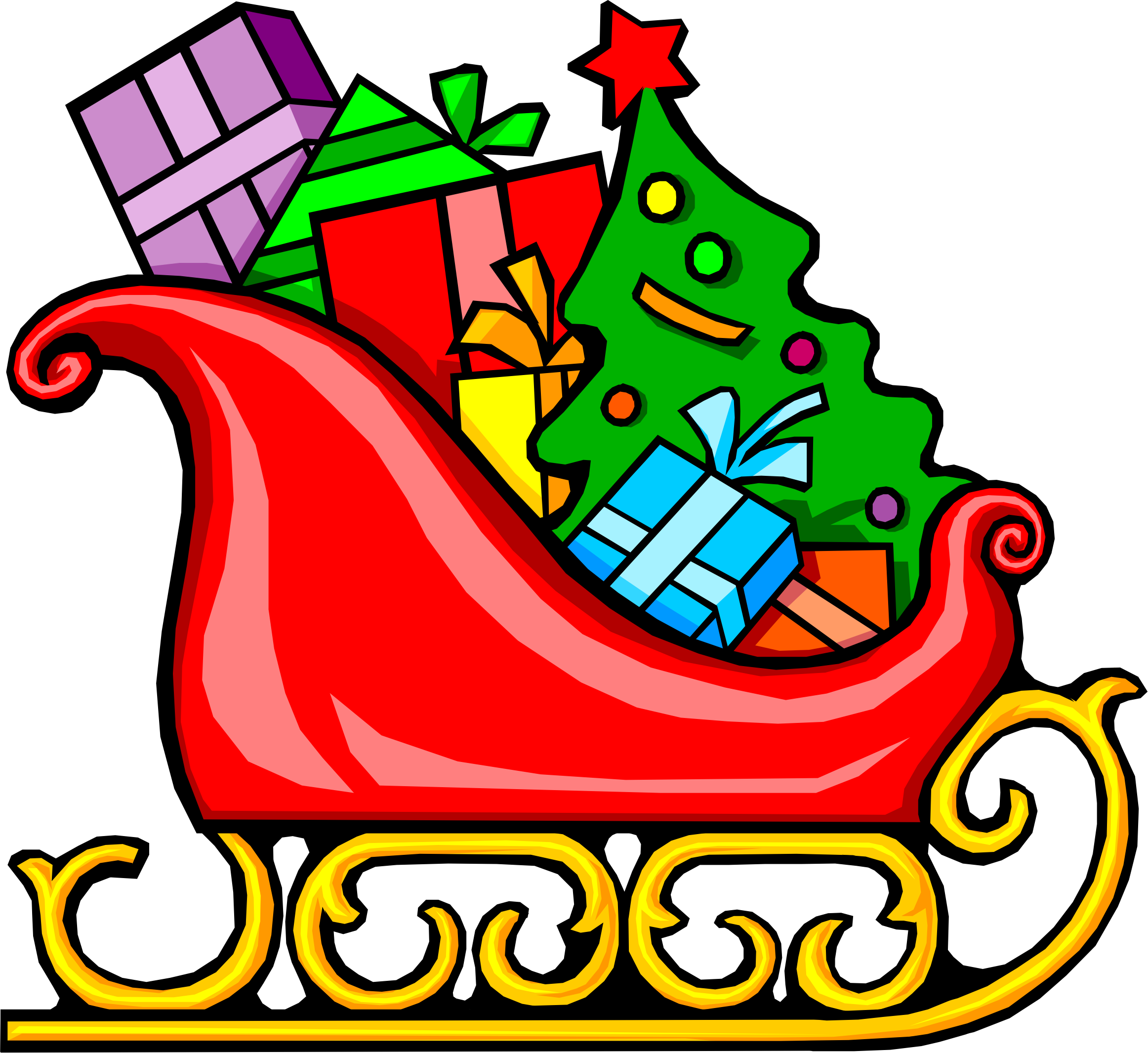 With presents big image. Sleigh clipart vector