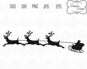 Sleigh clipart vector. Santa svg reindeer rudolph