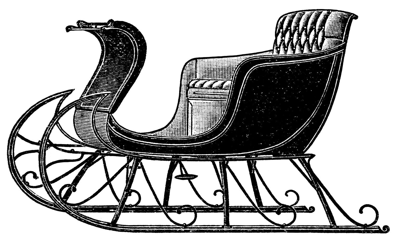 Sleigh clipart vintage. Horse drawn sleighs free