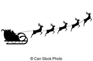 Santa silhouette clip art. Sleigh clipart vintage